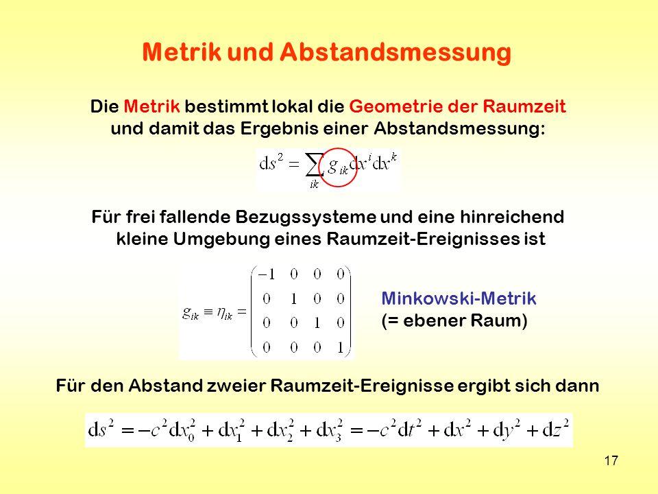 17 Metrik und Abstandsmessung Für frei fallende Bezugssysteme und eine hinreichend kleine Umgebung eines Raumzeit-Ereignisses ist Minkowski-Metrik (=