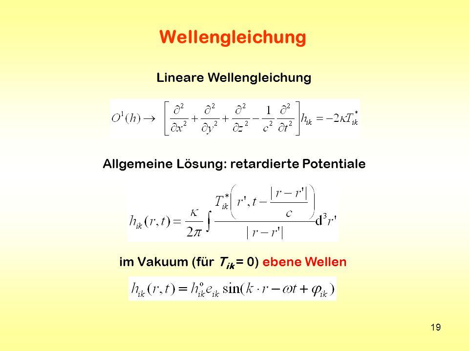 19 Wellengleichung Lineare Wellengleichung im Vakuum (für T ik = 0) ebene Wellen Allgemeine Lösung: retardierte Potentiale