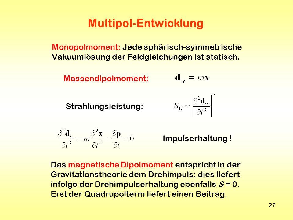 27 Multipol-Entwicklung Massendipolmoment: Strahlungsleistung: Impulserhaltung ! Das magnetische Dipolmoment entspricht in der Gravitationstheorie dem