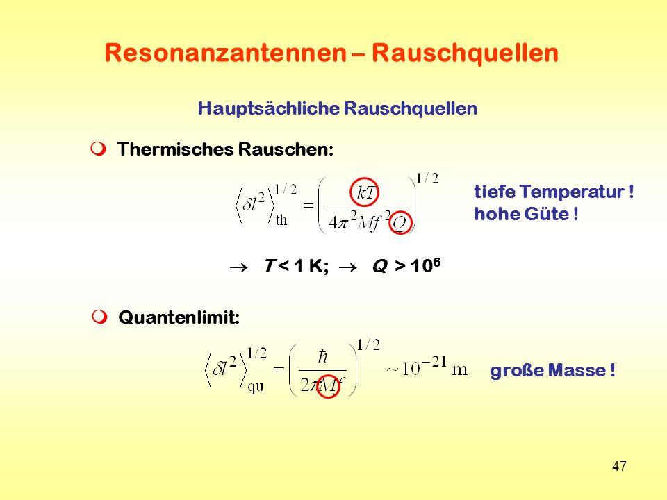 47 Resonanzantennen – Rauschquellen Hauptsächliche Rauschquellen Thermisches Rauschen: T 10 6 Quantenlimit: tiefe Temperatur ! hohe Güte ! große Masse