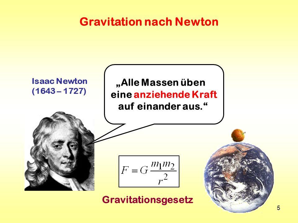 5 Isaac Newton (1643 – 1727) Gravitation nach Newton Gravitationsgesetz Alle Massen üben eine anziehende Kraft auf einander aus.