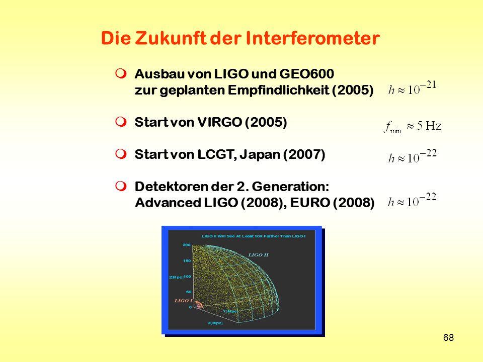 68 Die Zukunft der Interferometer Ausbau von LIGO und GEO600 zur geplanten Empfindlichkeit (2005) Start von VIRGO (2005) Start von LCGT, Japan (2007)