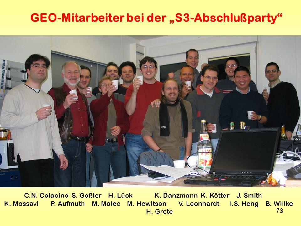 73 GEO-Mitarbeiter bei der S3-Abschlußparty C.N. Colacino S. Goßler H. Lück K. Danzmann K. Kötter J. Smith K. Mossavi P. Aufmuth M. Malec M. Hewitson