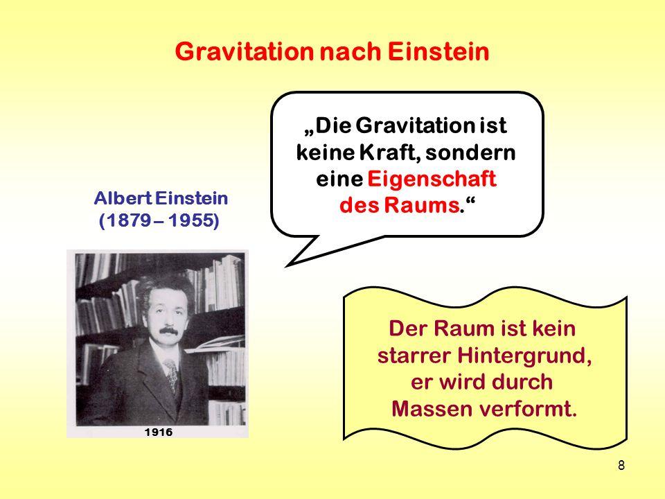 8 Albert Einstein (1879 – 1955) 1916 Die Gravitation ist keine Kraft, sondern eine Eigenschaft des Raums. Der Raum ist kein starrer Hintergrund, er wi