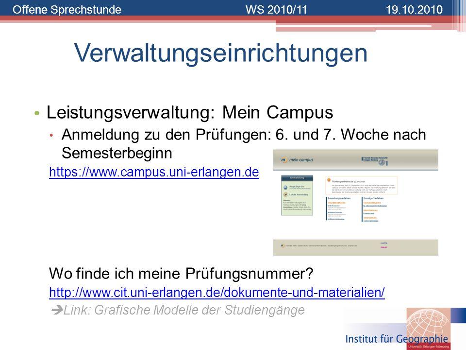 Offene SprechstundeWS 2010/1119.10.2010 Verwaltungseinrichtungen Leistungsverwaltung: Mein Campus Anmeldung zu den Prüfungen: 6. und 7. Woche nach Sem