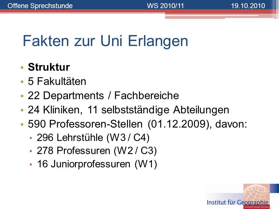 Offene SprechstundeWS 2010/1119.10.2010 Fakten zur Uni Erlangen Struktur 5 Fakultäten 22 Departments / Fachbereiche 24 Kliniken, 11 selbstständige Abt