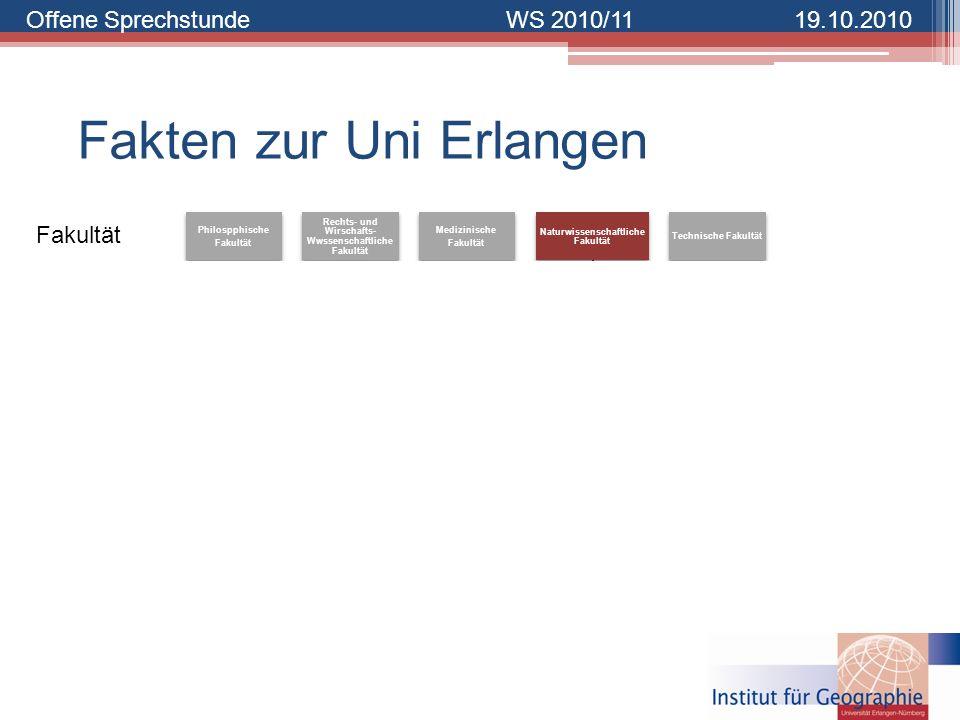 Offene SprechstundeWS 2010/1119.10.2010 Fakten zur Uni Erlangen Philospphische Fakultät Rechts- und Wirschafts- Wwssenschaftliche Fakultät Medizinisch