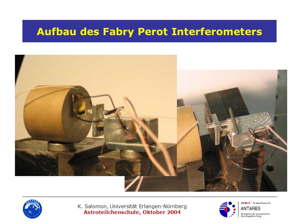 K. Salomon, Universität Erlangen-Nürnberg Astroteilchenschule, Oktober 2004 Aufbau des Fabry Perot Interferometers