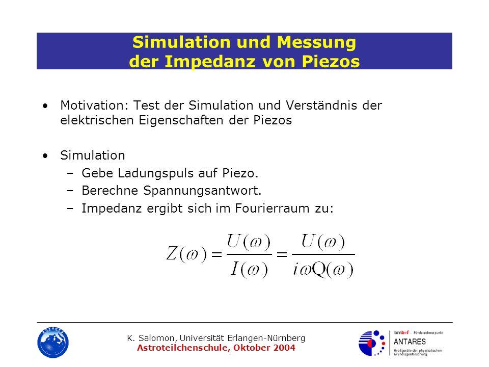 K. Salomon, Universität Erlangen-Nürnberg Astroteilchenschule, Oktober 2004 Simulation und Messung der Impedanz von Piezos Motivation: Test der Simula