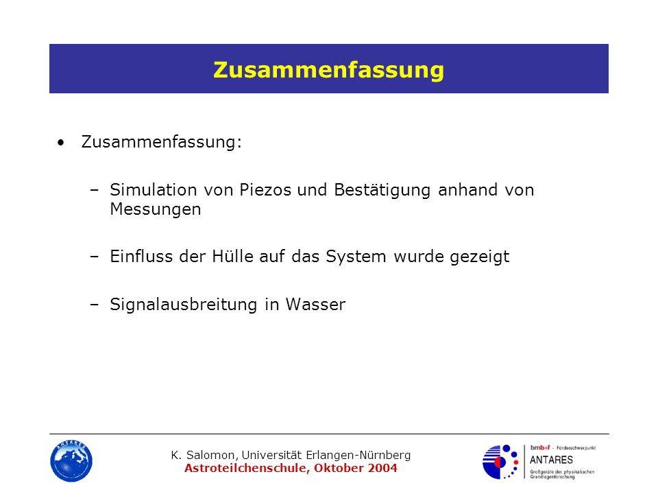K. Salomon, Universität Erlangen-Nürnberg Astroteilchenschule, Oktober 2004 Zusammenfassung Zusammenfassung: –Simulation von Piezos und Bestätigung an