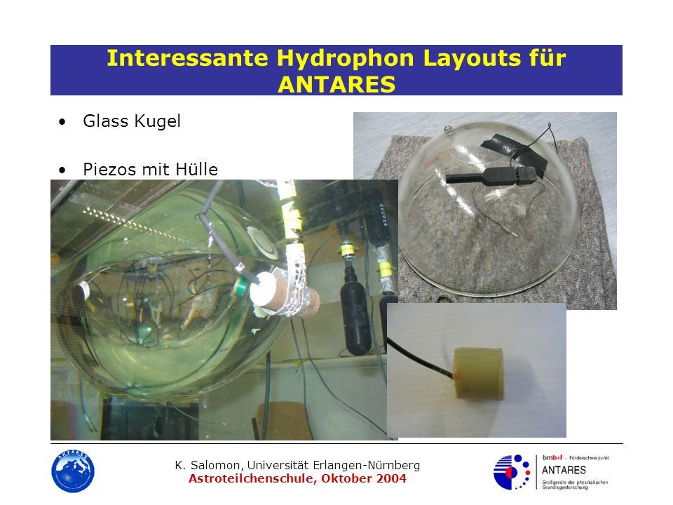 K. Salomon, Universität Erlangen-Nürnberg Astroteilchenschule, Oktober 2004 Interessante Hydrophon Layouts für ANTARES Glass Kugel Piezos mit Hülle