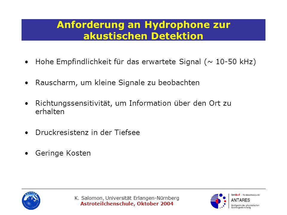 K. Salomon, Universität Erlangen-Nürnberg Astroteilchenschule, Oktober 2004 Anforderung an Hydrophone zur akustischen Detektion Hohe Empfindlichkeit f