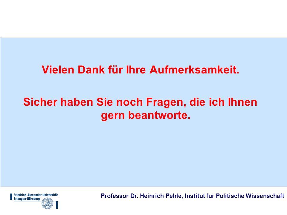 Professor Dr. Heinrich Pehle, Institut für Politische Wissenschaft Vielen Dank für Ihre Aufmerksamkeit. Sicher haben Sie noch Fragen, die ich Ihnen ge