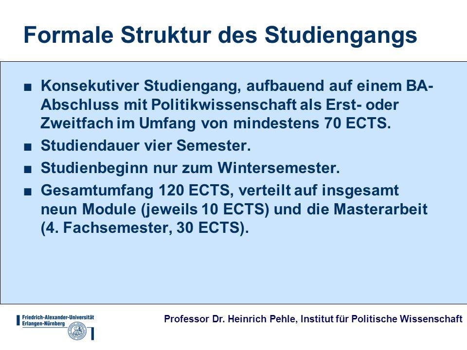 Professor Dr. Heinrich Pehle, Institut für Politische Wissenschaft Formale Struktur des Studiengangs Konsekutiver Studiengang, aufbauend auf einem BA-