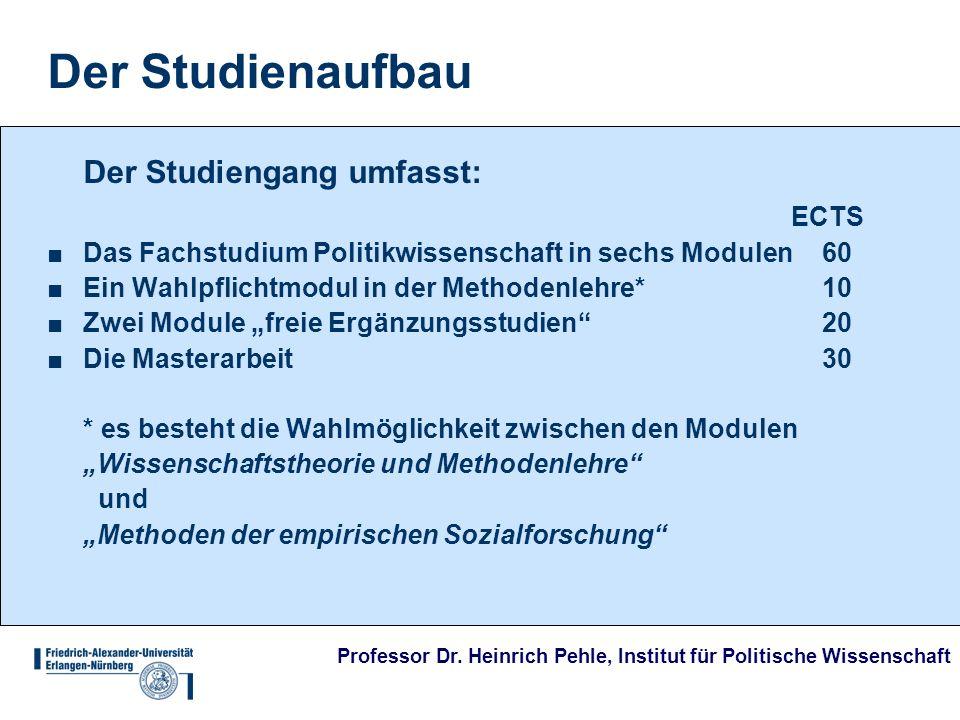 Professor Dr. Heinrich Pehle, Institut für Politische Wissenschaft Der Studienaufbau Der Studiengang umfasst: ECTS Das Fachstudium Politikwissenschaft