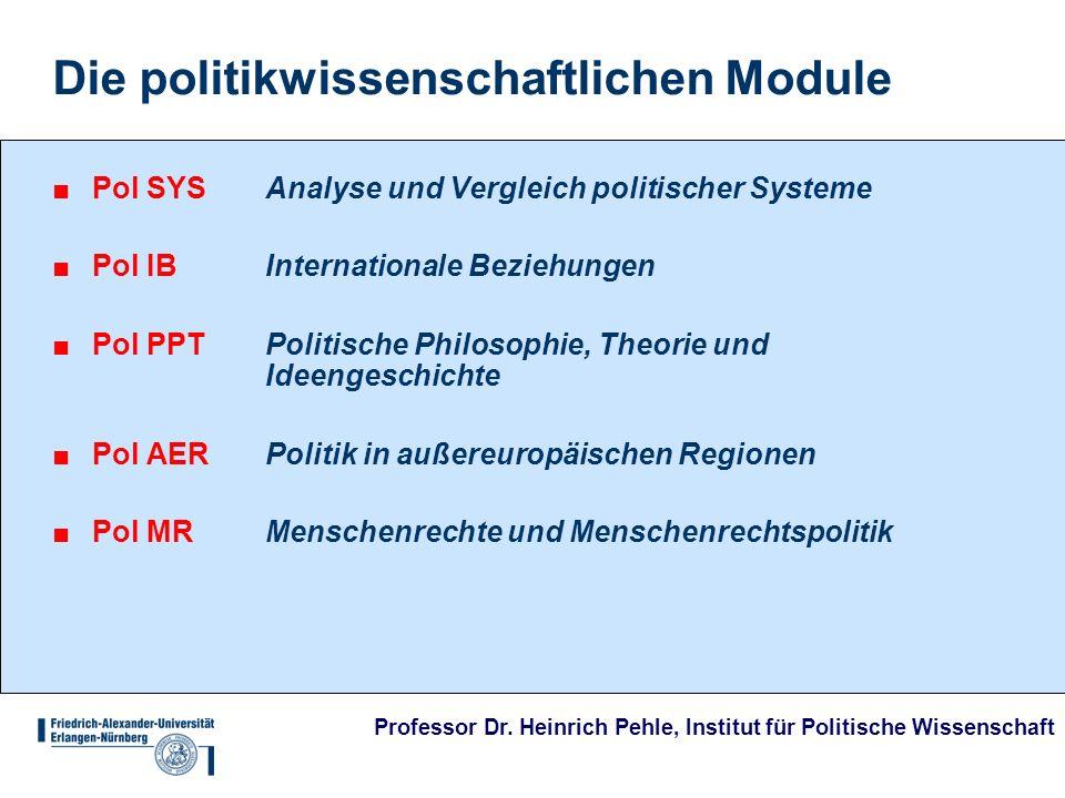 Professor Dr. Heinrich Pehle, Institut für Politische Wissenschaft Die politikwissenschaftlichen Module Pol SYSAnalyse und Vergleich politischer Syste