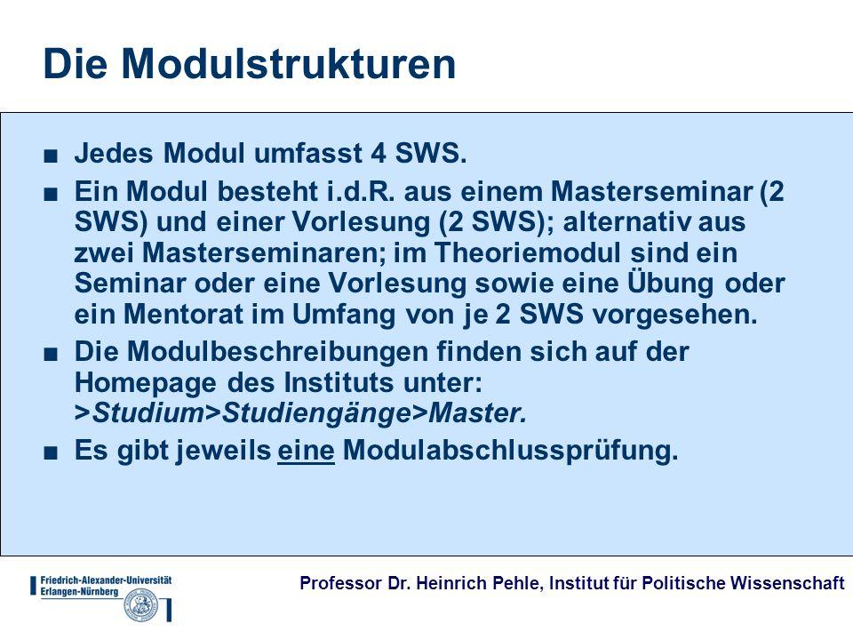 Professor Dr. Heinrich Pehle, Institut für Politische Wissenschaft Die Modulstrukturen Jedes Modul umfasst 4 SWS. Ein Modul besteht i.d.R. aus einem M