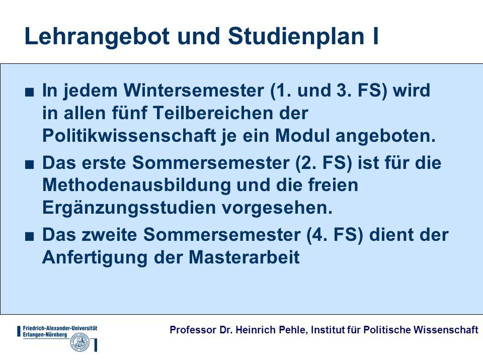 Professor Dr. Heinrich Pehle, Institut für Politische Wissenschaft Lehrangebot und Studienplan I In jedem Wintersemester (1. und 3. FS) wird in allen