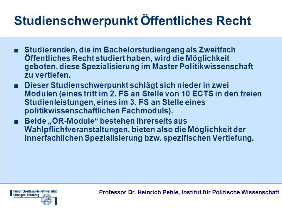 Professor Dr. Heinrich Pehle, Institut für Politische Wissenschaft Studienschwerpunkt Öffentliches Recht Studierenden, die im Bachelorstudiengang als