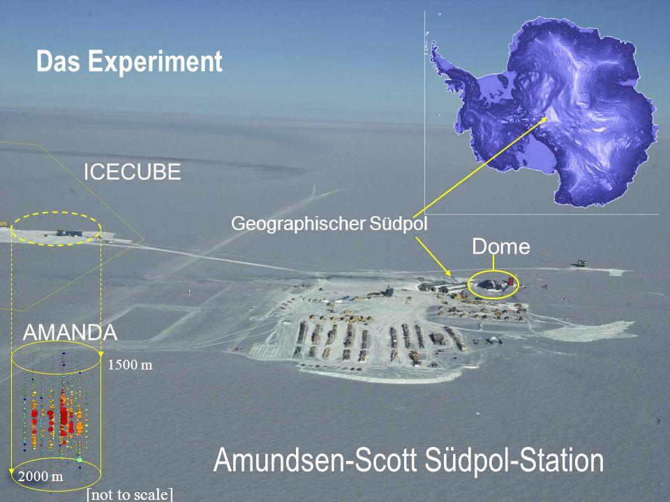 Dome AMANDA 1500 m 2000 m [not to scale] ICECUBE Das Experiment Geographischer Südpol Amundsen-Scott Südpol-Station