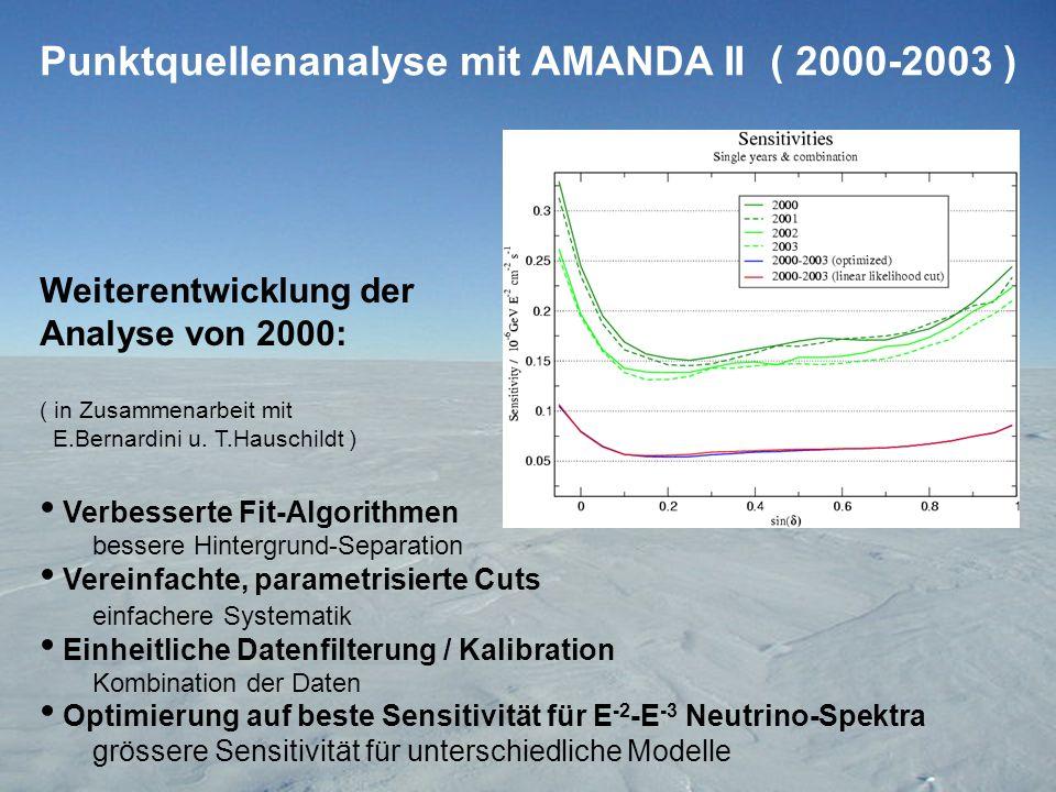 Punktquellenanalyse mit AMANDA II ( 2000-2003 ) Weiterentwicklung der Analyse von 2000: ( in Zusammenarbeit mit E.Bernardini u.