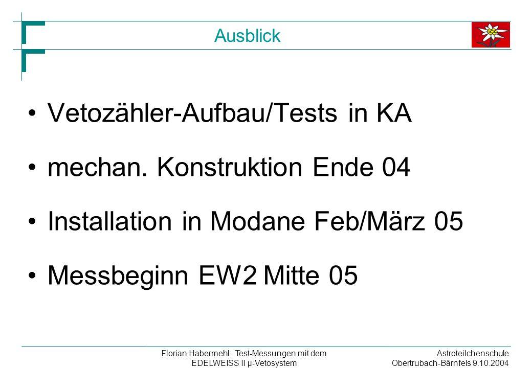 Astroteilchenschule Obertrubach-Bärnfels 9.10.2004 Florian Habermehl: Test-Messungen mit dem EDELWEISS II µ-Vetosystem Ausblick Vetozähler-Aufbau/Tests in KA mechan.