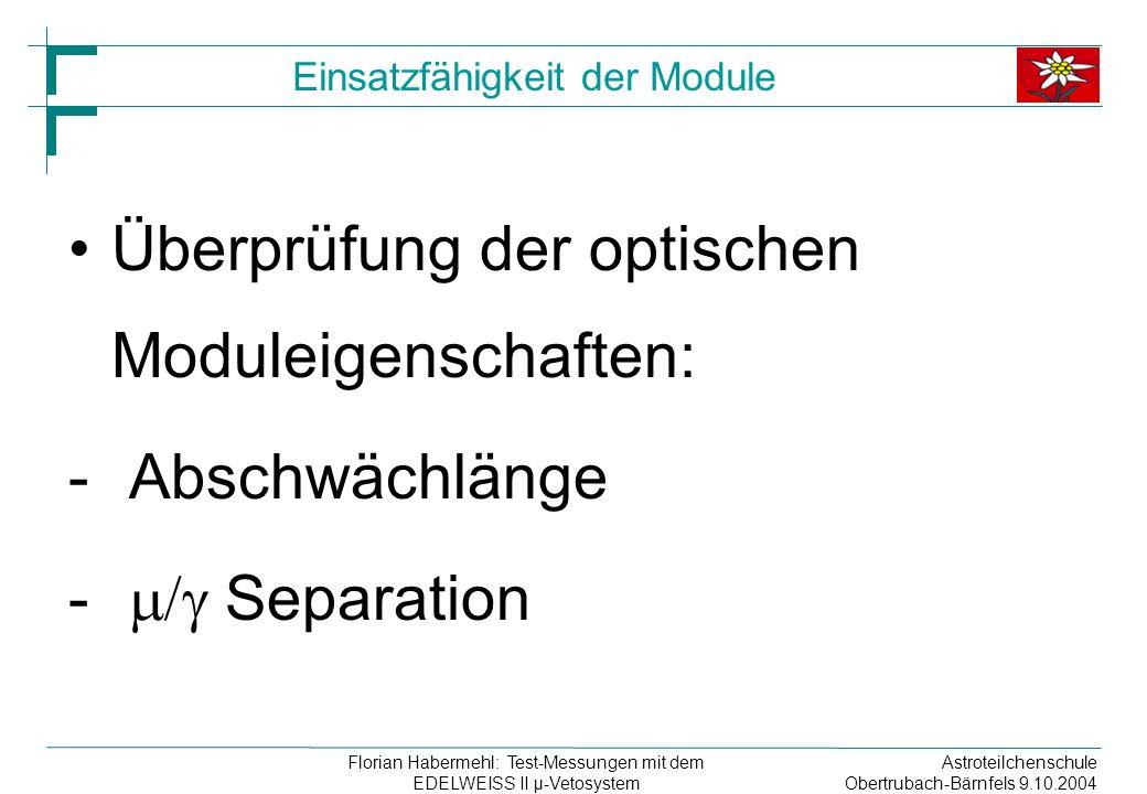 Astroteilchenschule Obertrubach-Bärnfels 9.10.2004 Florian Habermehl: Test-Messungen mit dem EDELWEISS II µ-Vetosystem Einsatzfähigkeit der Module Überprüfung der optischen Moduleigenschaften: - Abschwächlänge - Separation