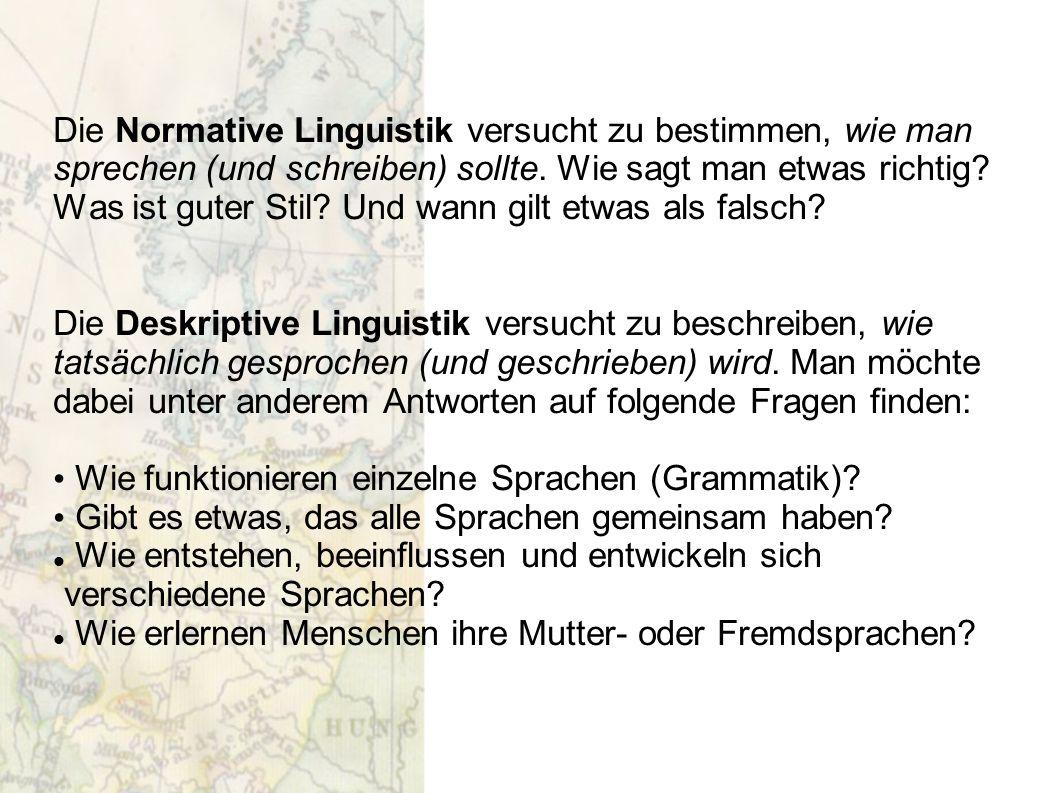 Die Normative Linguistik versucht zu bestimmen, wie man sprechen (und schreiben) sollte. Wie sagt man etwas richtig? Was ist guter Stil? Und wann gilt
