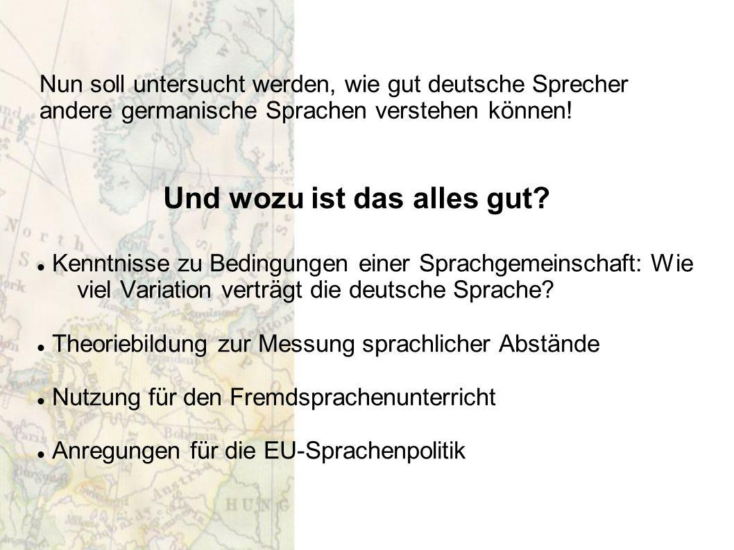 Und wozu ist das alles gut? Kenntnisse zu Bedingungen einer Sprachgemeinschaft: Wie viel Variation verträgt die deutsche Sprache? Theoriebildung zur M