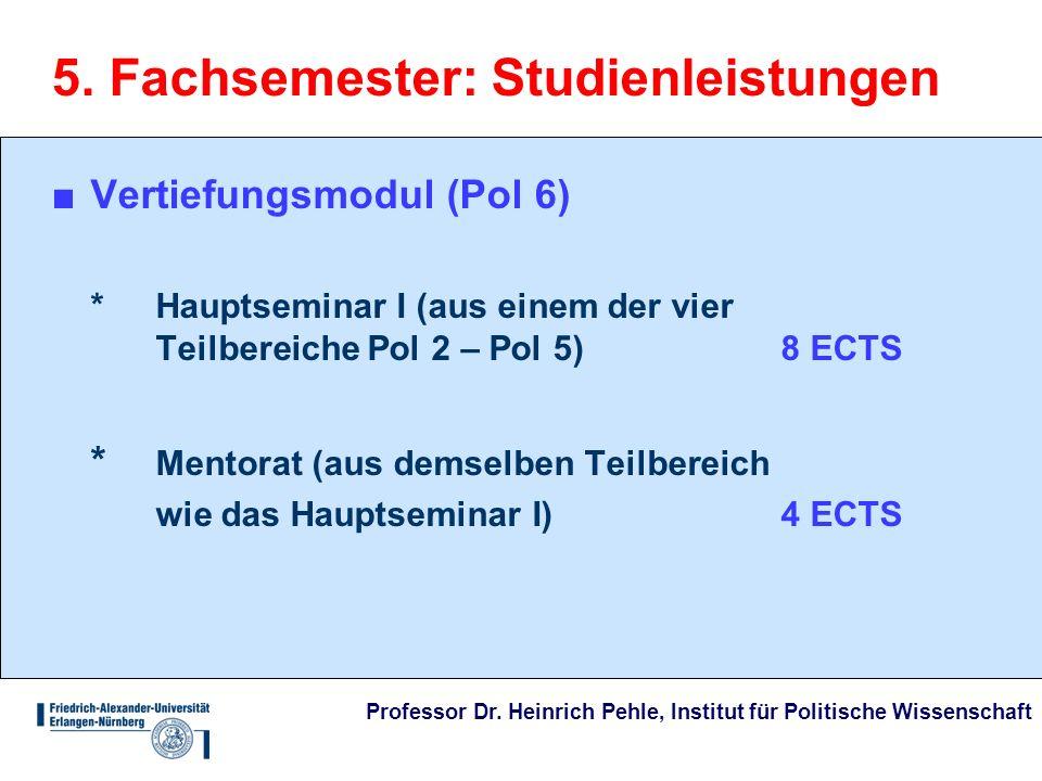 Professor Dr. Heinrich Pehle, Institut für Politische Wissenschaft 5. Fachsemester: Studienleistungen Vertiefungsmodul (Pol 6) * Hauptseminar I (aus e