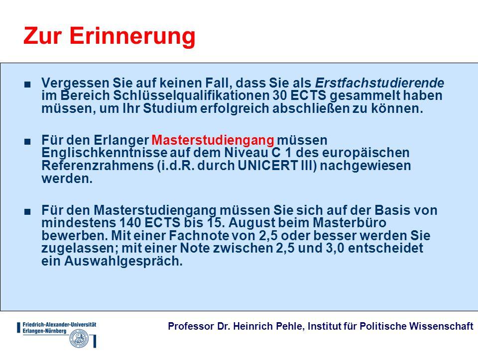 Professor Dr. Heinrich Pehle, Institut für Politische Wissenschaft Zur Erinnerung Vergessen Sie auf keinen Fall, dass Sie als Erstfachstudierende im B