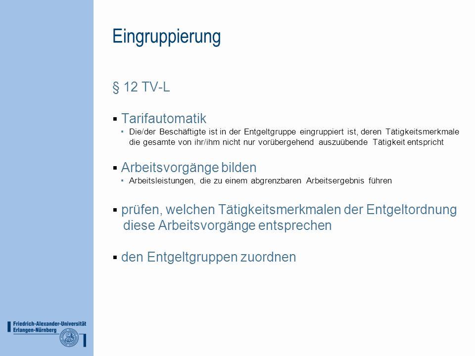 Eingruppierung § 12 TV-L Tarifautomatik Die/der Beschäftigte ist in der Entgeltgruppe eingruppiert ist, deren Tätigkeitsmerkmale die gesamte von ihr/i