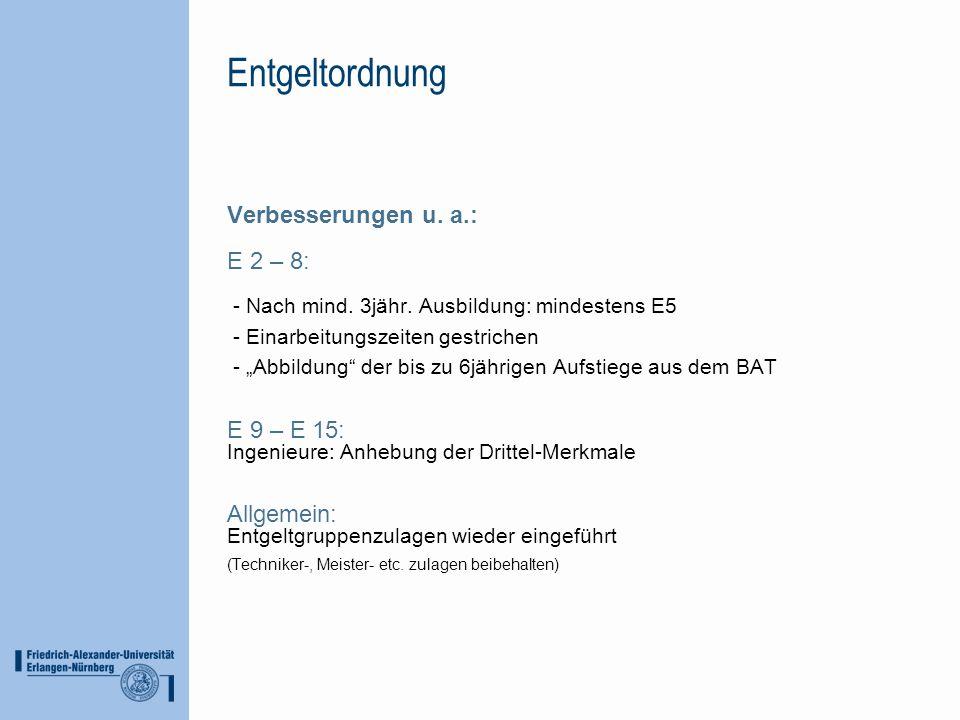 Entgeltordnung Verbesserungen u. a.: E 2 – 8: - Nach mind. 3jähr. Ausbildung: mindestens E5 - Einarbeitungszeiten gestrichen - Abbildung der bis zu 6j