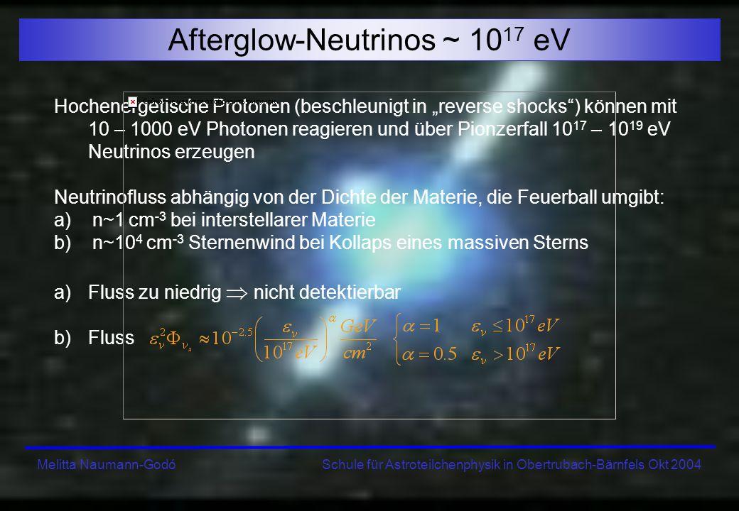 Melitta Naumann-Godó Schule für Astroteilchenphysik in Obertrubach-Bärnfels Okt 2004 Afterglow-Neutrinos ~ 10 17 eV Hochenergetische Protonen (beschle