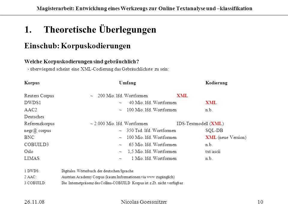 26.11.08Nicolas Goessnitzer10 Magisterarbeit: Entwicklung eines Werkzeugs zur Online Textanalyse und –klassifikation 1.Theoretische Überlegungen Einsc