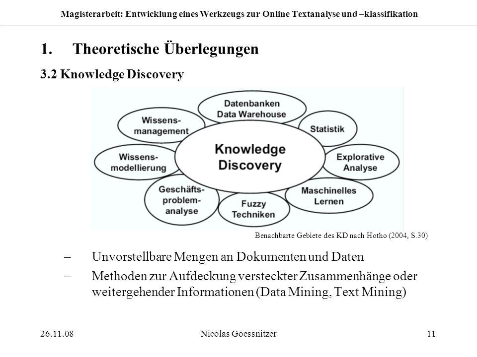 26.11.08Nicolas Goessnitzer11 Magisterarbeit: Entwicklung eines Werkzeugs zur Online Textanalyse und –klassifikation 1.Theoretische Überlegungen 3.2 K