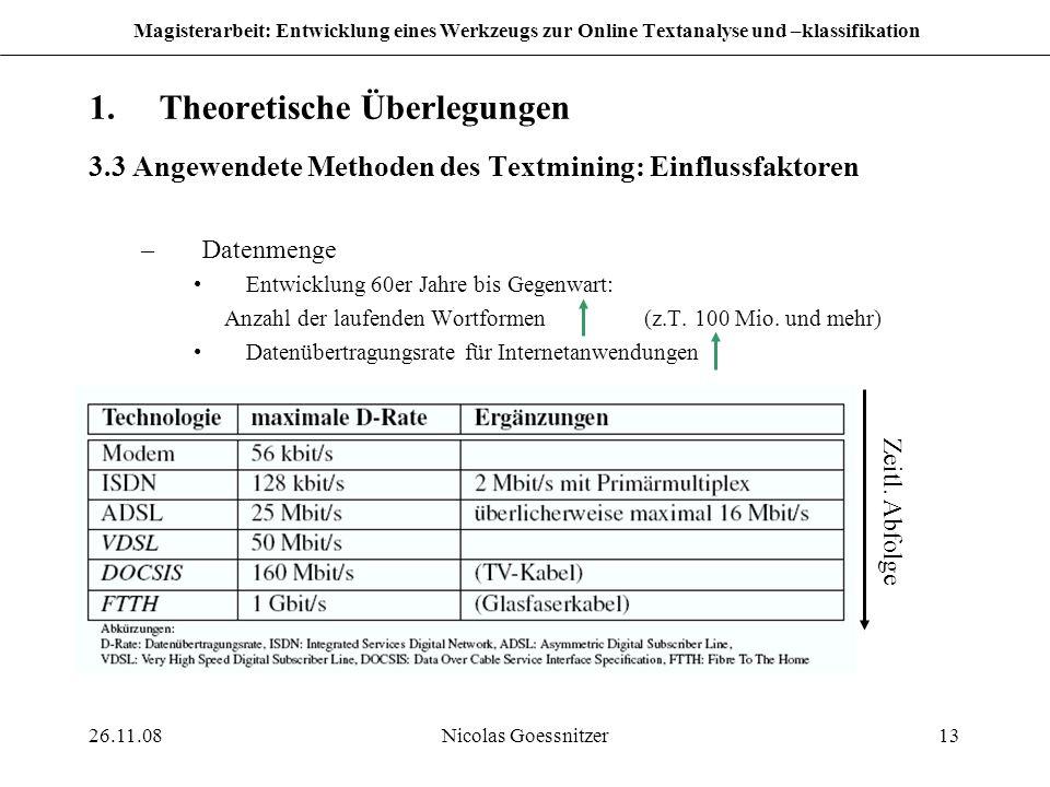 26.11.08Nicolas Goessnitzer13 Magisterarbeit: Entwicklung eines Werkzeugs zur Online Textanalyse und –klassifikation 1.Theoretische Überlegungen 3.3 A