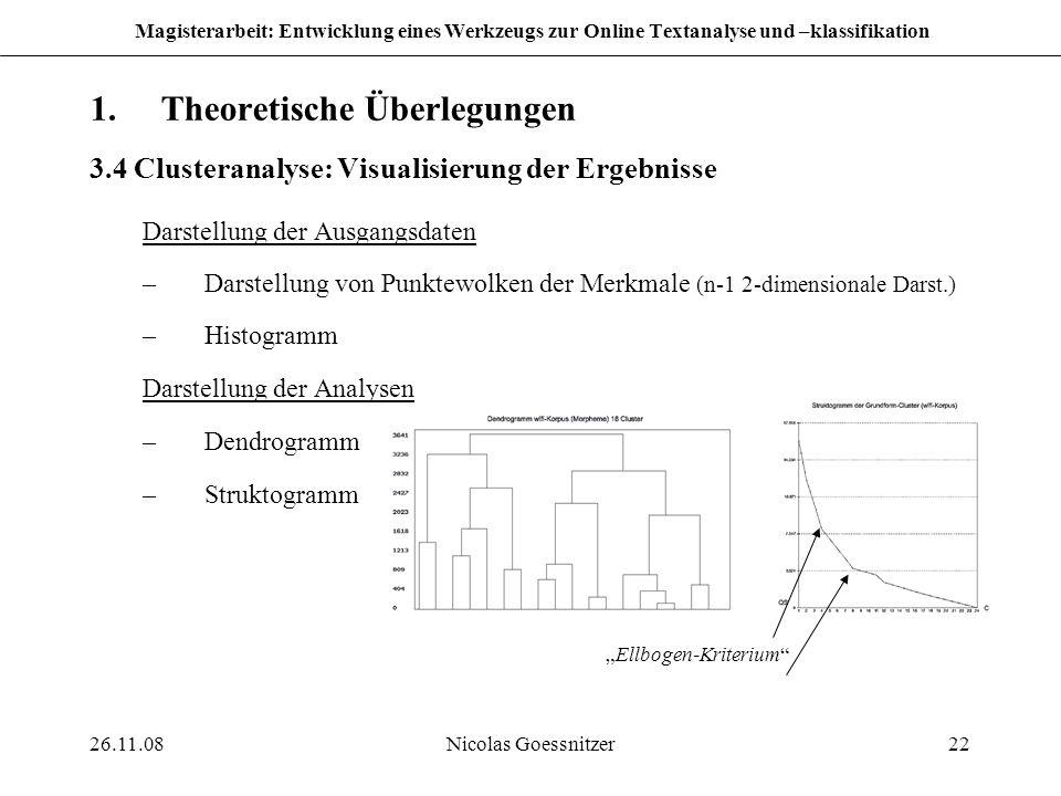 26.11.08Nicolas Goessnitzer22 Magisterarbeit: Entwicklung eines Werkzeugs zur Online Textanalyse und –klassifikation 1.Theoretische Überlegungen 3.4 C