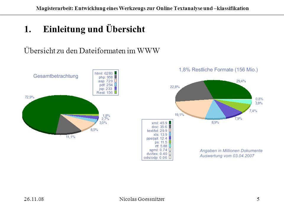 26.11.08Nicolas Goessnitzer5 Magisterarbeit: Entwicklung eines Werkzeugs zur Online Textanalyse und –klassifikation 1.Einleitung und Übersicht Übersic