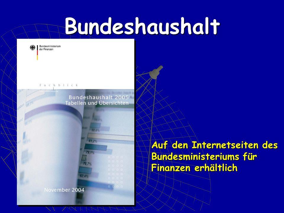 Auf den Internetseiten des Bundesministeriums für Finanzen erhältlich Bundeshaushalt