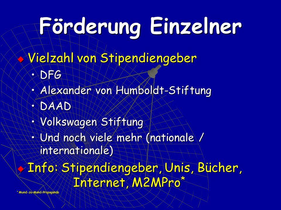 Förderung Einzelner Vielzahl von Stipendiengeber Vielzahl von Stipendiengeber DFGDFG Alexander von Humboldt-StiftungAlexander von Humboldt-Stiftung DA