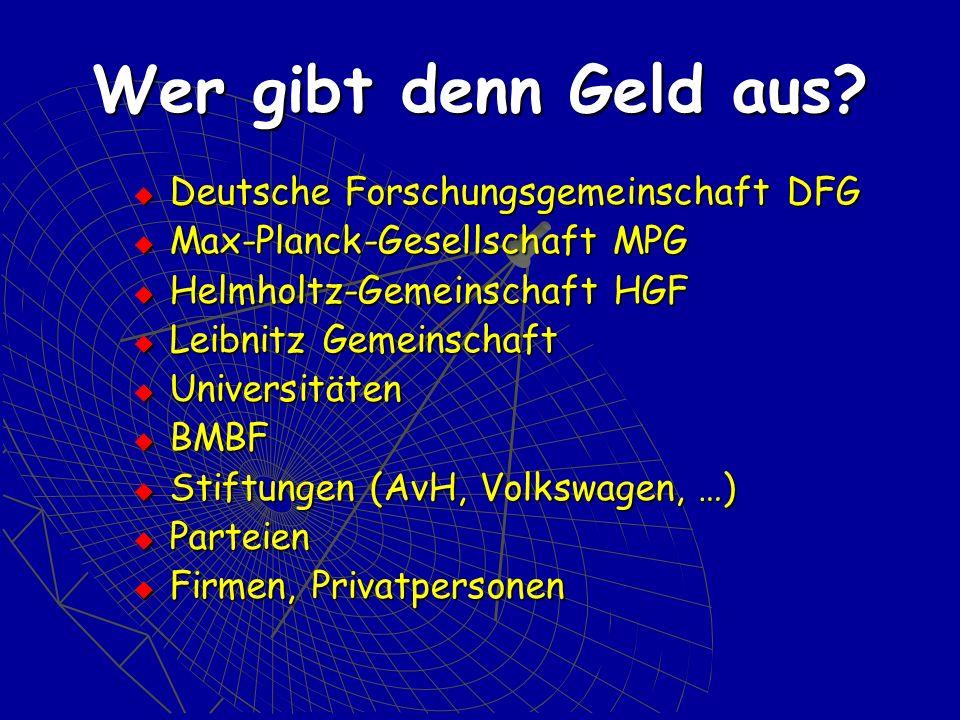 Wer gibt denn Geld aus? Deutsche Forschungsgemeinschaft DFG Deutsche Forschungsgemeinschaft DFG Max-Planck-Gesellschaft MPG Max-Planck-Gesellschaft MP