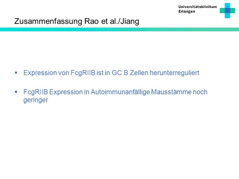 Zusammenfassung Rao et al./Jiang Expression von FcgRIIB ist in GC B Zellen herunterreguliert FcgRIIB Expression in Autoimmunanfällige Mausstämme noch