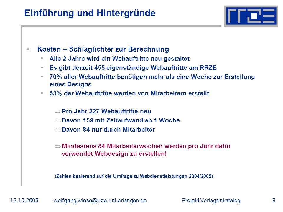 Projekt Vorlagenkatalog12.10.2005wolfgang.wiese@rrze.uni-erlangen.de19 Vertiefung: Hintergründe Zunahme der eingesetzten Speziallösungen CMS- und Redaktionssysteme Anmeldesysteme eLearning-Systeme Foren