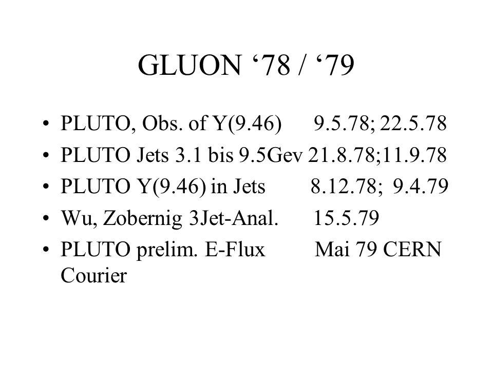 GLUON 78 / 79 PLUTO, Obs. of Y(9.46) 9.5.78; 22.5.78 PLUTO Jets 3.1 bis 9.5Gev 21.8.78;11.9.78 PLUTO Y(9.46) in Jets 8.12.78; 9.4.79 Wu, Zobernig 3Jet