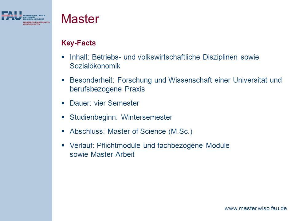 Master Key-Facts Inhalt: Betriebs- und volkswirtschaftliche Disziplinen sowie Sozialökonomik Besonderheit: Forschung und Wissenschaft einer Universitä