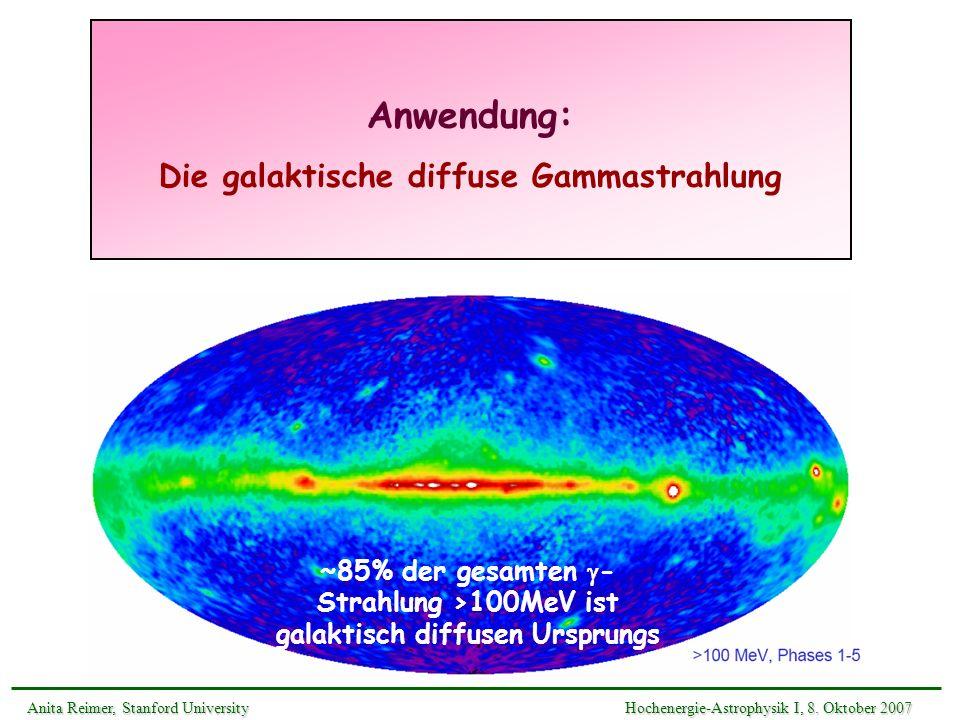 Anwendung: Die galaktische diffuse Gammastrahlung Anita Reimer, Stanford UniversityHochenergie-Astrophysik I, 8. Oktober 2007 Anita Reimer, Stanford U