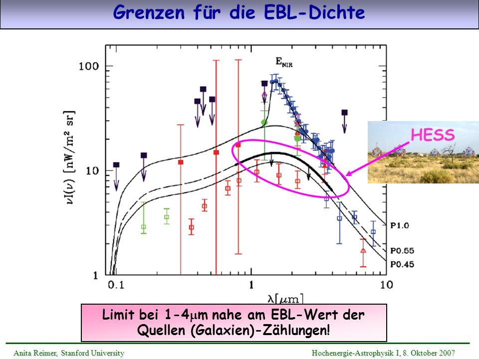 Grenzen für die EBL-Dichte Limit bei 1-4 m nahe am EBL-Wert der Quellen (Galaxien)-Zählungen! HESS Anita Reimer, Stanford UniversityHochenergie-Astrop