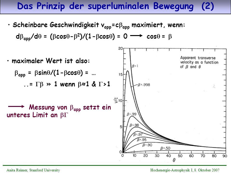 Scheinbare Geschwindigkeit v app =c app maximiert, wenn: d app /d = ( cos - 2 )/(1- cos ) = 0 cos = Das Prinzip der superluminalen Bewegung (2) Anita