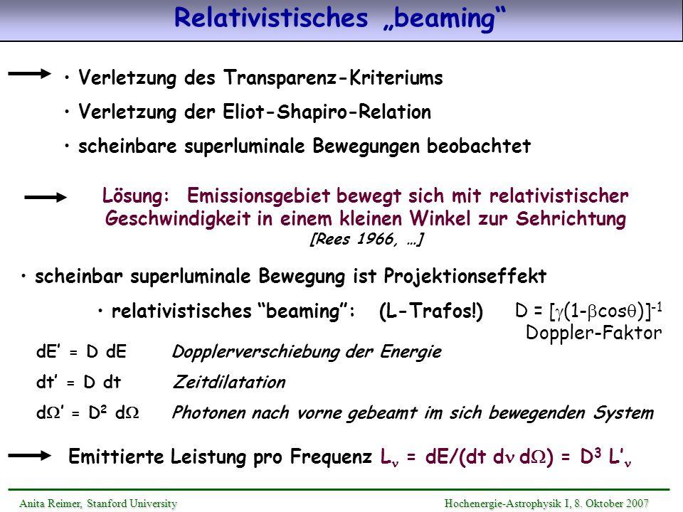 Relativistisches beaming Anita Reimer, Stanford UniversityHochenergie-Astrophysik I, 8. Oktober 2007 Anita Reimer, Stanford University Hochenergie-Ast